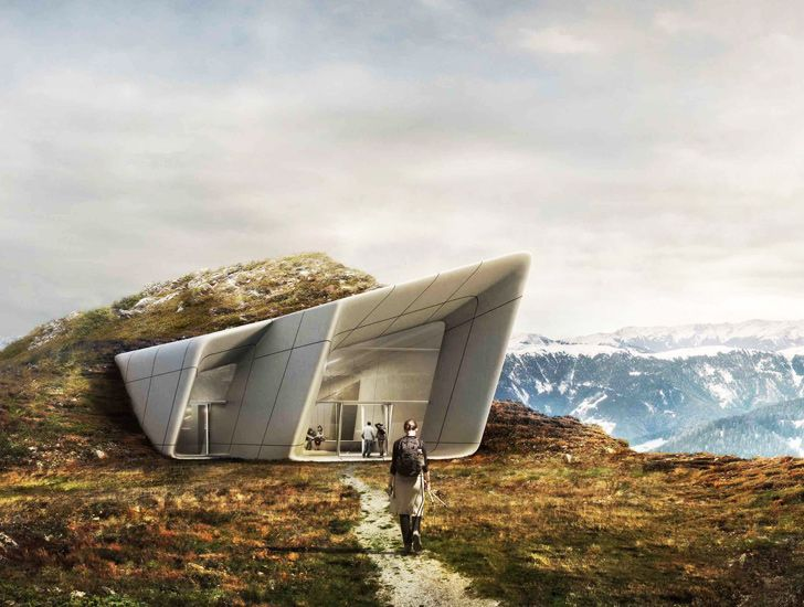 Modern Architecture Zaha Hadid zaha hadid unveils mountaintop museum for reinhold messner in the