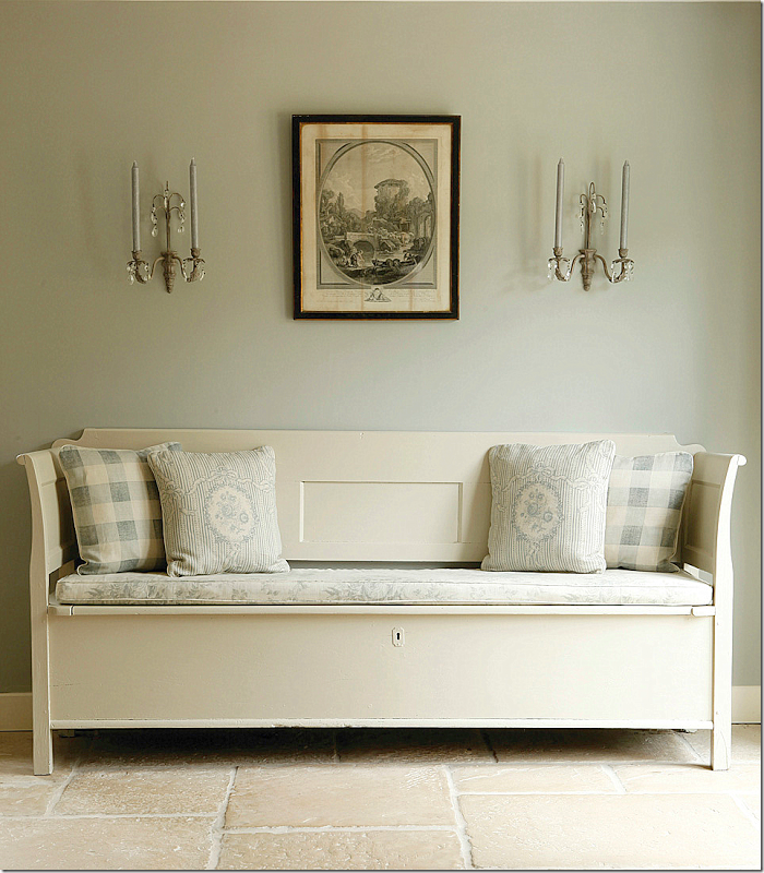 Kate forman designs swedish blues in check and cameo - Dimity farrow and ball living room ...