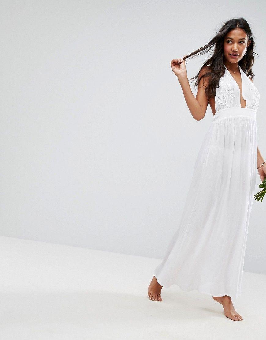 asos - bridal - maxistrandkleid mit applikation - weiß jetzt