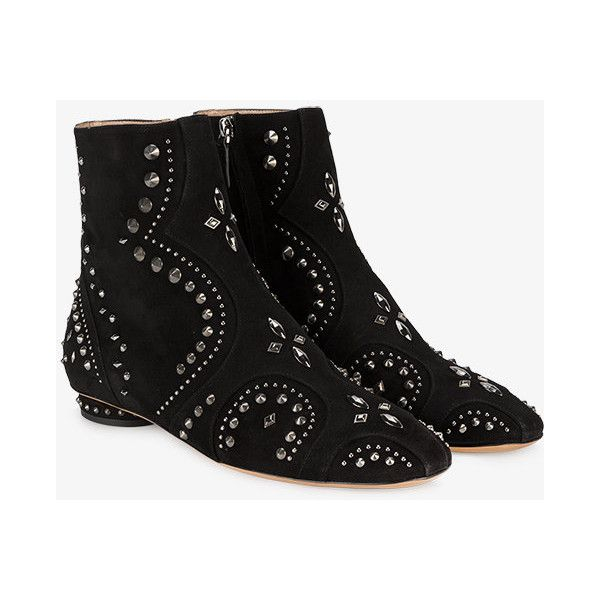 Valentino Studded Flat Suede Ankle Boots ($1,650) ❤ liked on Polyvore featuring shoes, boots, ankle booties, black suede bootie, black studded flats, black ankle boots, black booties and flat heel booties