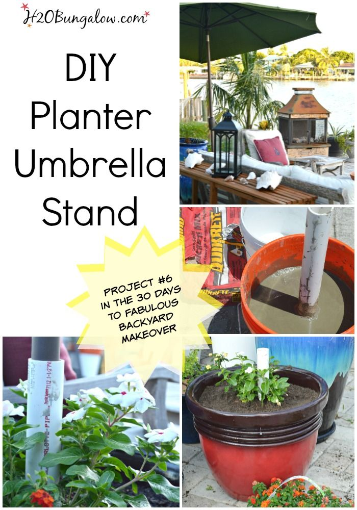 Diy Planter Umbrella Stand Tutorial H2obungalow Patio Umbrella Stand Diy Planters Outdoor Umbrella Stand