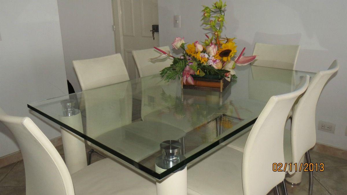 Juego de comedor mesa en vidrio de 6 puestos gemm for Comedor de cristal