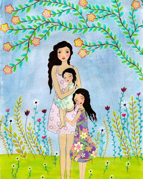 Redhead Mother Painting, Mother And Two Daughters Painting Art