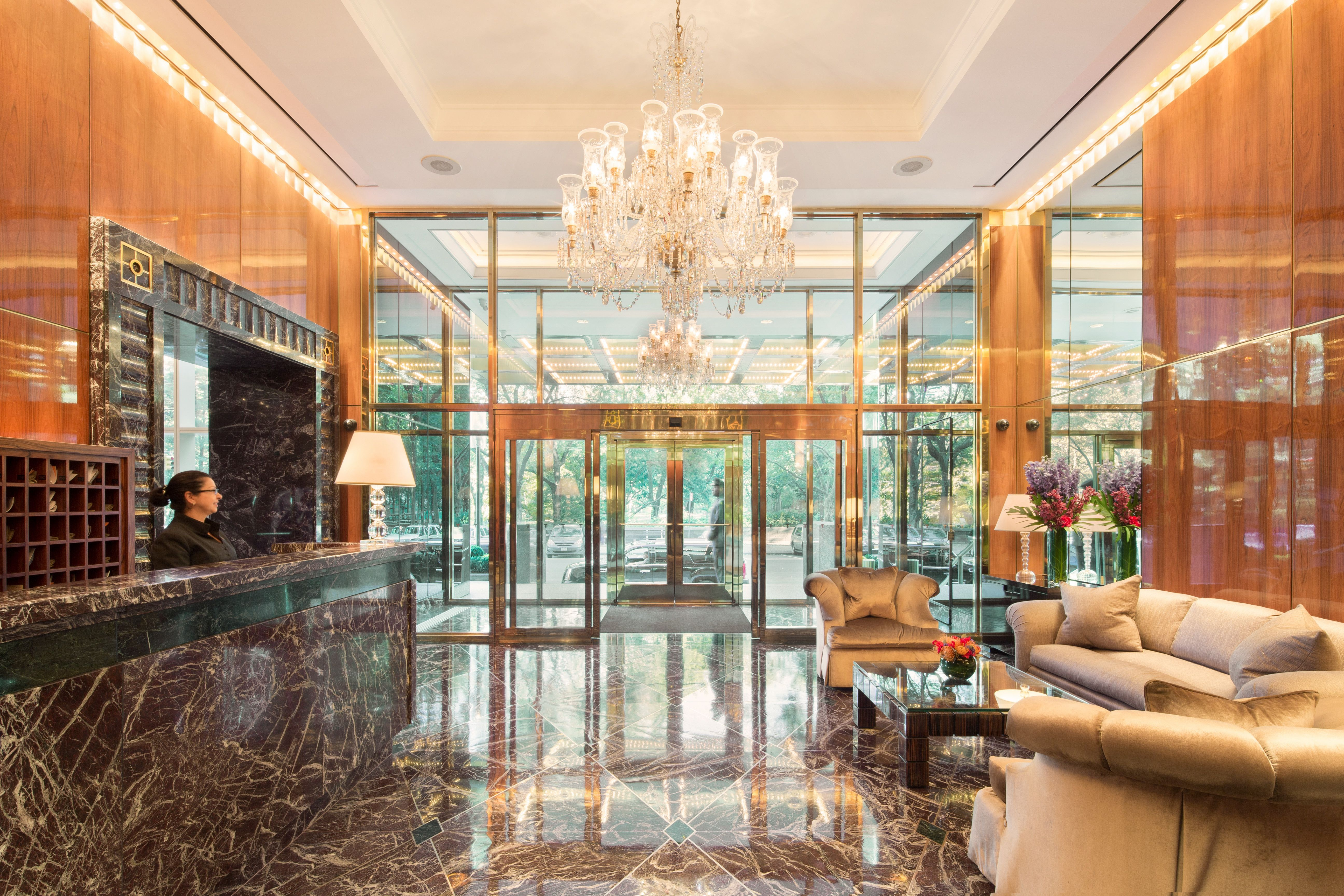 This is the stunning lobby at trump international 1 for Trump tower new york penthouse