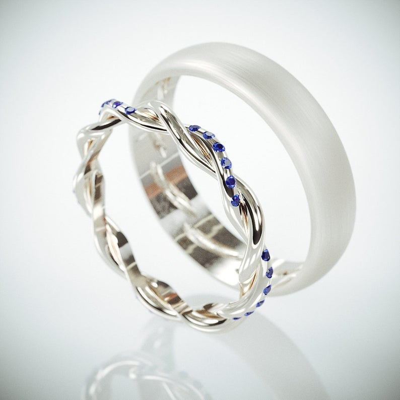 14K White Gold Braided Wedding Rings set with Blue
