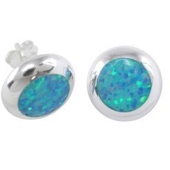 Sterling Silver 12mm Round Synthetic Opal Stud Earrings 1