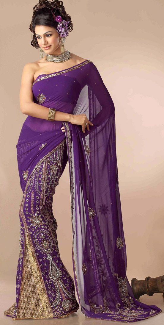 Purple Lehenga Saree | Sarees : Cool Colors | Pinterest | India ...