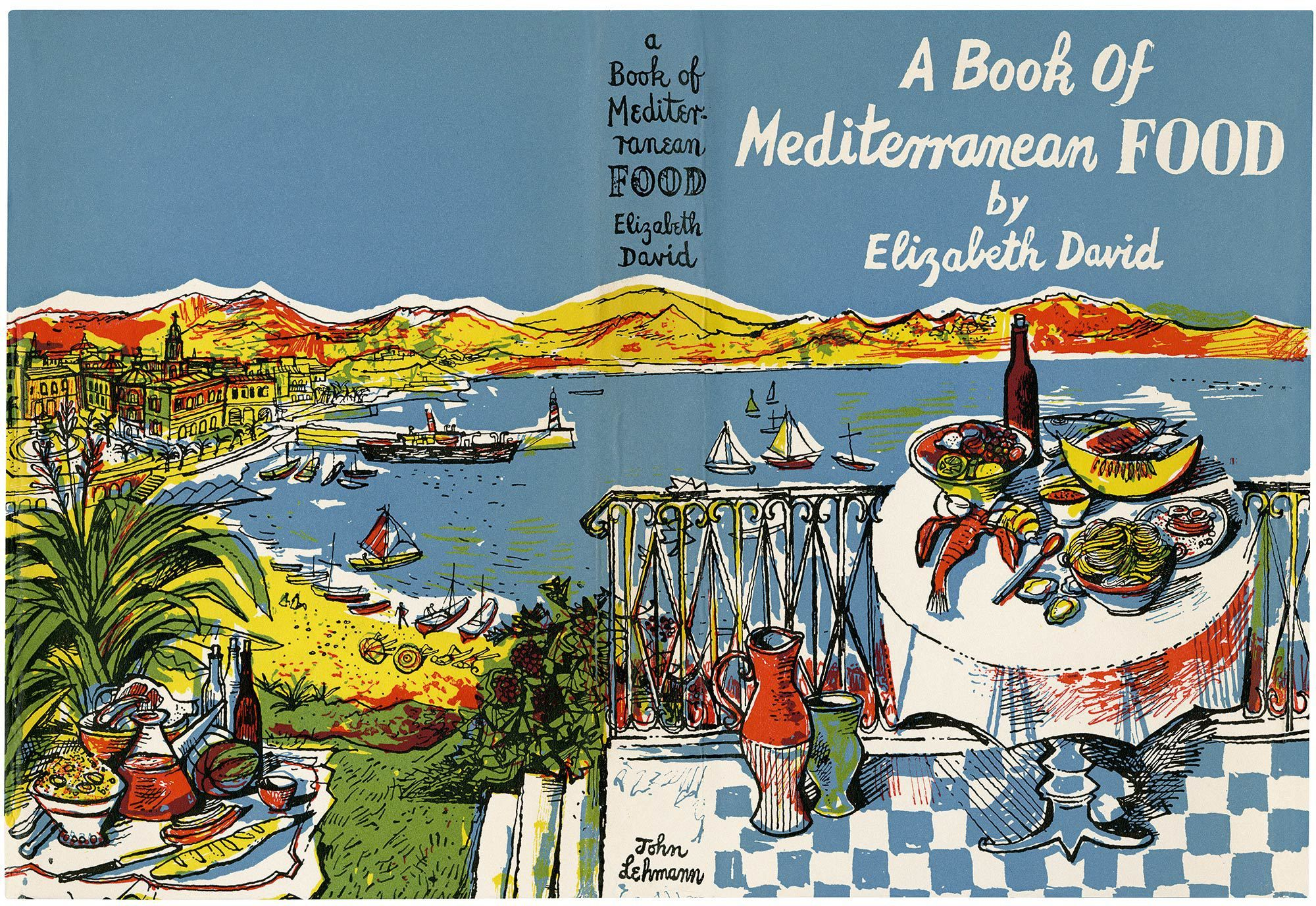 Jacket illustration for Elizabeth David's Book of Mediterranean Food by John Minton (1950)