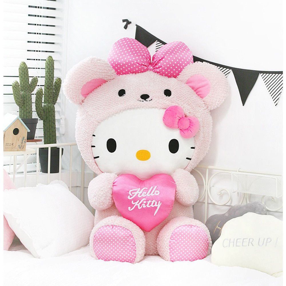 Hello Kitty Pink Heart Bear Giant 100cm 39in Character Cushion Plush Toy Doll Hello Kitty Toys Hello Kitty Plush Hello Kitty