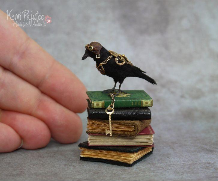 Polymer clay sculpture Miniature Steampunk Crow Sculpture by Pajutee on DeviantArt
