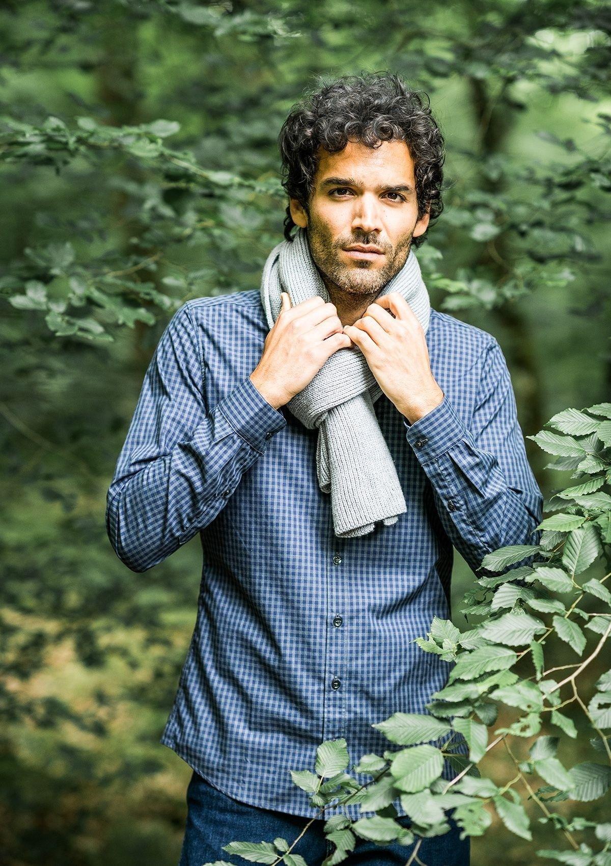 Echarpe homme CHANTERELLE gris clair 100% laine - Montlimart d00864ef003