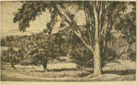 Beyond the Elm Etching, signed 1943, Edition 250 Bloom Fine Art and Antiques