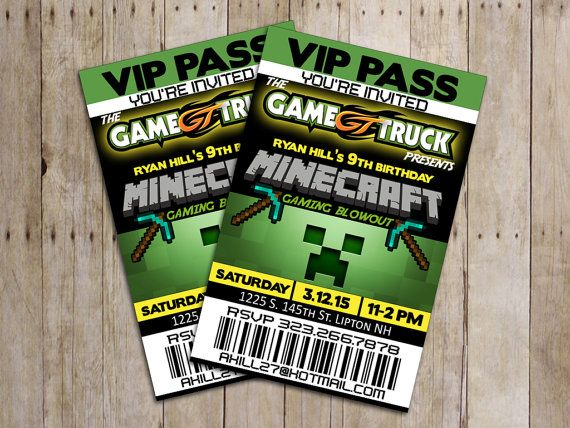 Awesome minecraft birthday party video game party vip pass awesome minecraft birthday party video game party vip pass invitations on etsy still available contact seller its not in the store but she made these stopboris Images