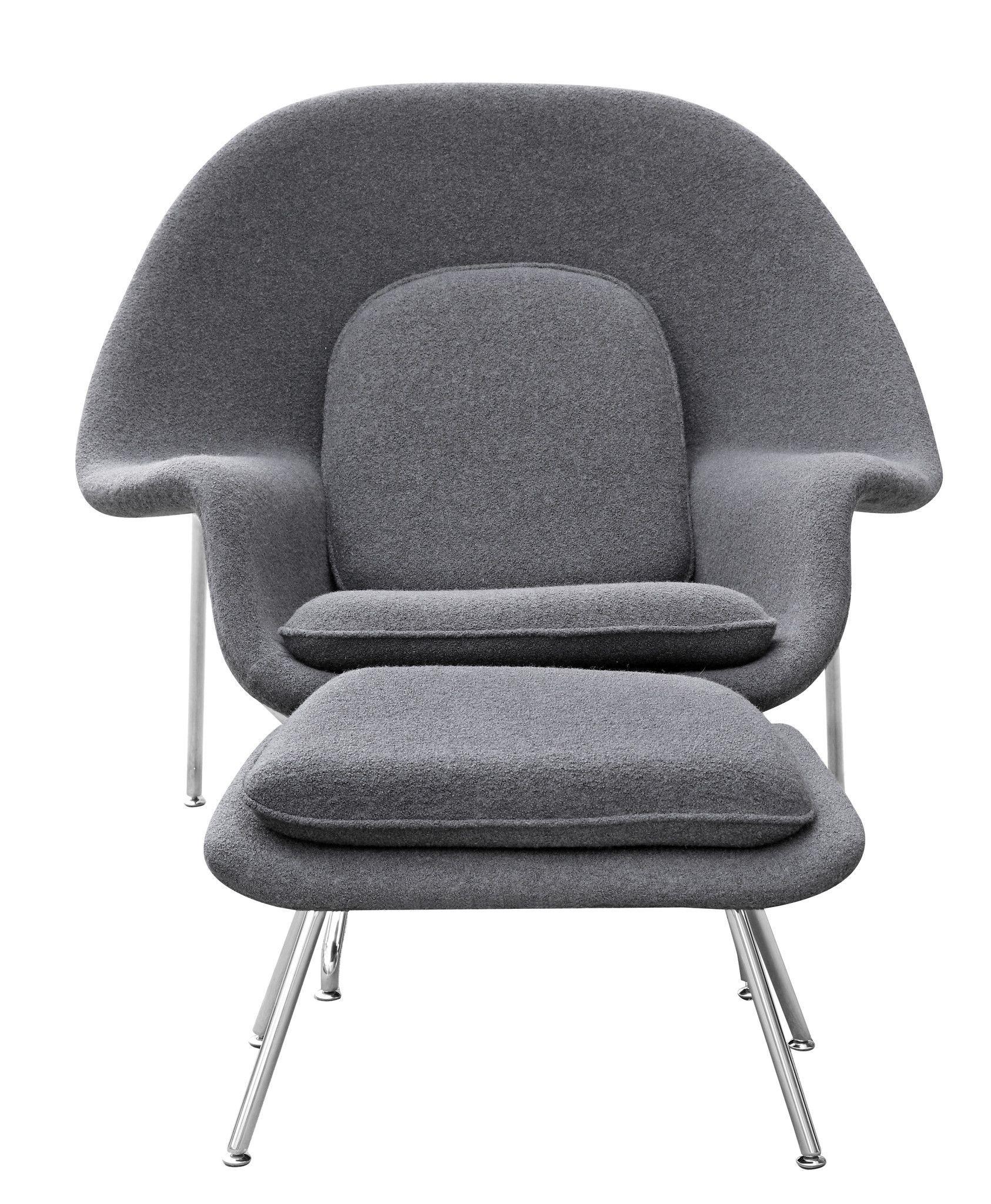 Fine Womb Style Chair And Ottoman Set In Gray For The Home Creativecarmelina Interior Chair Design Creativecarmelinacom