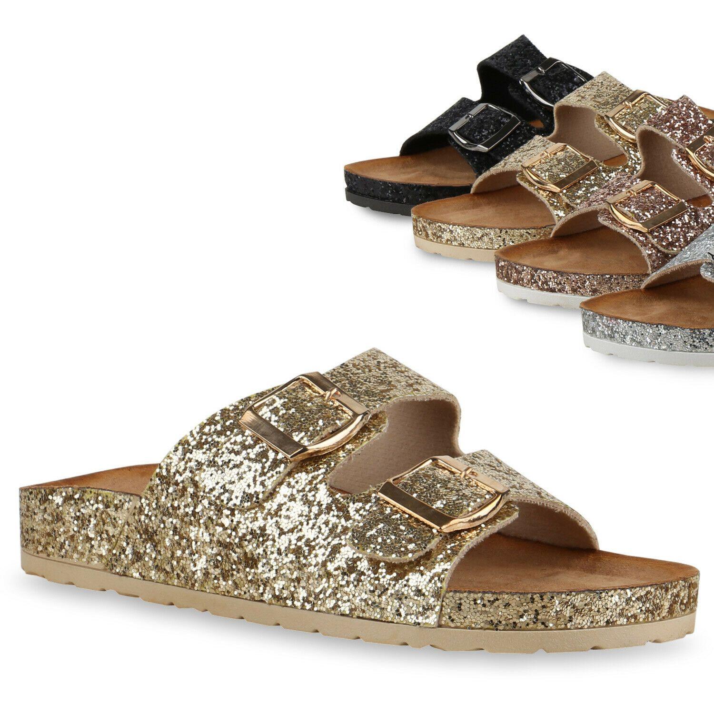 Damen Sandalen Hausschuhe Zehentrenner Pantoletten Slippers Riemchen Sandaletten
