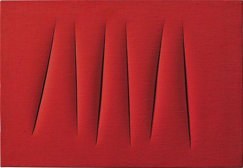 Lucio Fontana (italian, 1899-1968), Concetto spaziale, attese, 1964-65. Waterpaint on canvas
