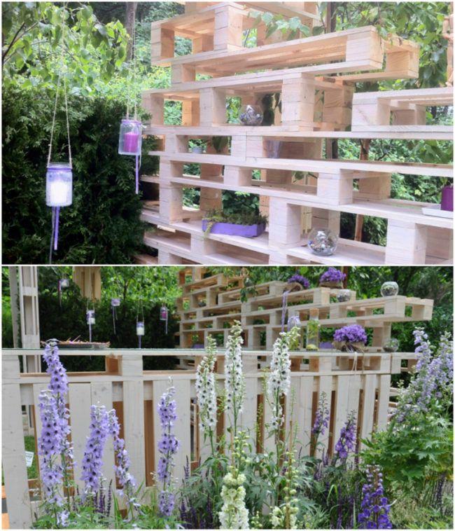 palettenmöbel-selber-bauen-garten-sichtschutz-regale-zaun Garten