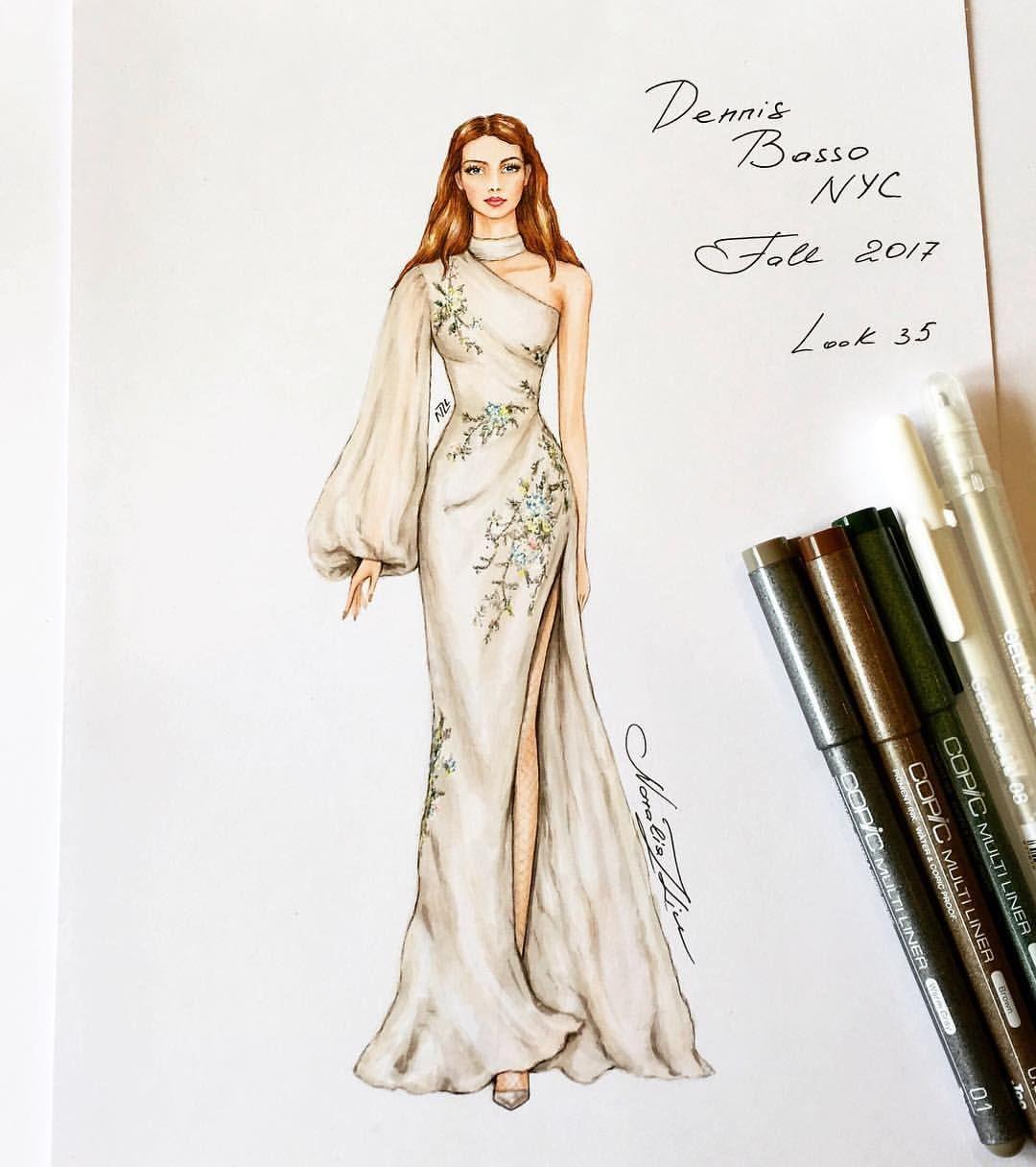 Nataliaz Liu No Instagram Beautiful Dennis Basso Nyc Gown Dennisbassonyc Handdrawn S Fashion Illustration Dresses Fashion Design Sketches Fashion Design