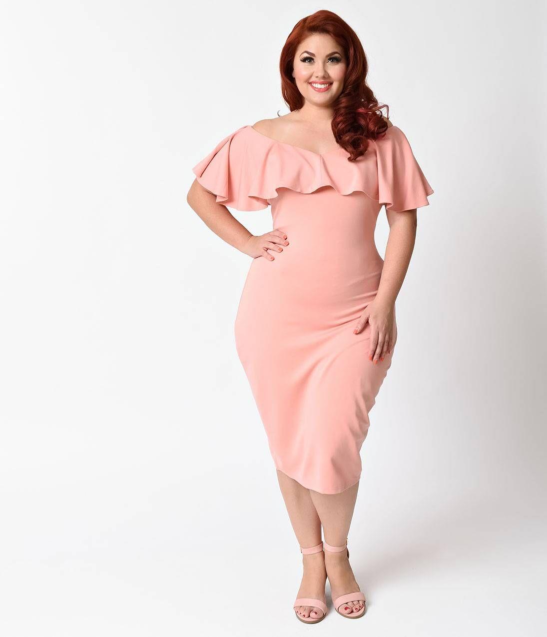 Unique Vintage Plus Size Rose Pink Knit Draped Sophia Wiggle Dress ...