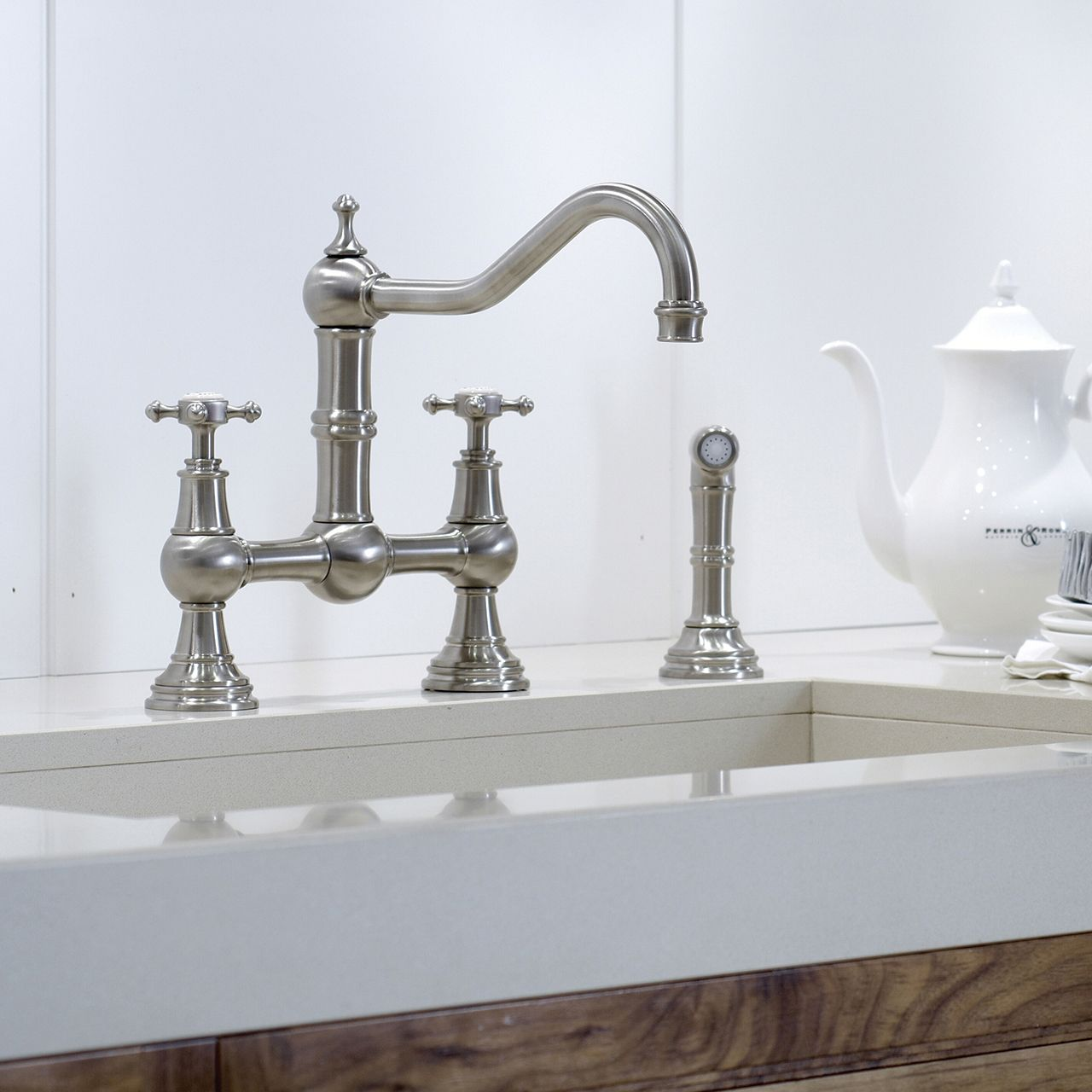 Traditional kitchen taps Provence three hole sink mixer with ...