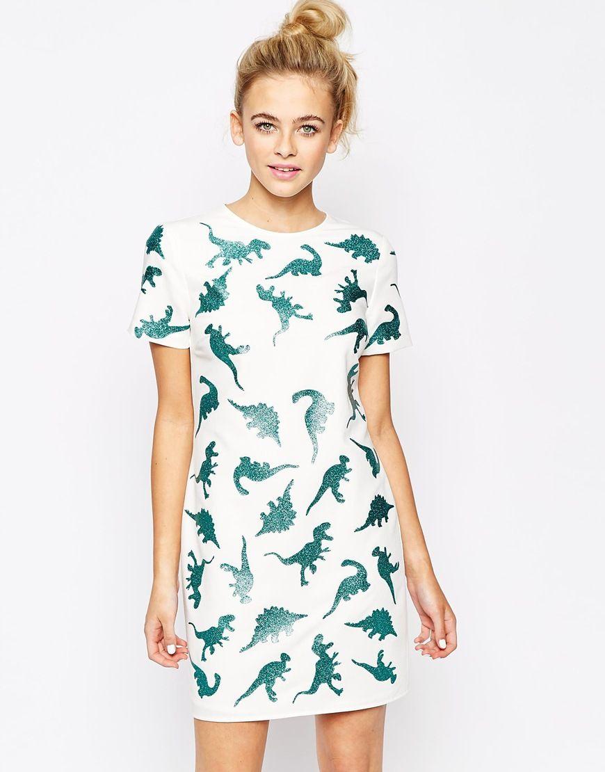Lashes Of London T Shirt Dress In Dinosaur Metallic Print