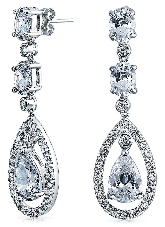 Bling Jewelry Bridal Cz Oval Teardrop Dangle Chandelier Earrings 2in Rhodium Plated Brass Check