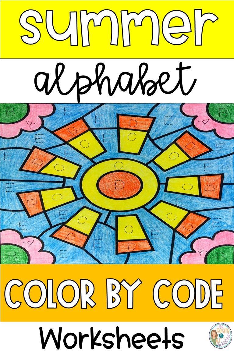 Summer Color By Alphabet Worksheets Kindergarten Worksheets Sight Words Elementary Reading Activities Letter Identification [ 1152 x 768 Pixel ]