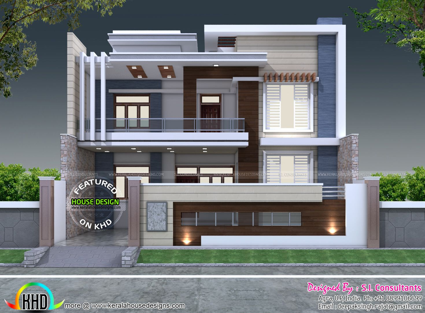 35 39 x 60 39 decorative style contemporary home alm for Front elevations of duplex houses