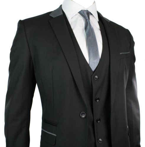 Mens Slim Fit Suit Black Grey Trim 3 Piece Work Office or Wedding ...