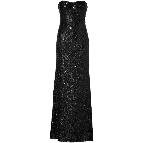 Jenny Packham Black Allover Sequined Strapless Gown 1033