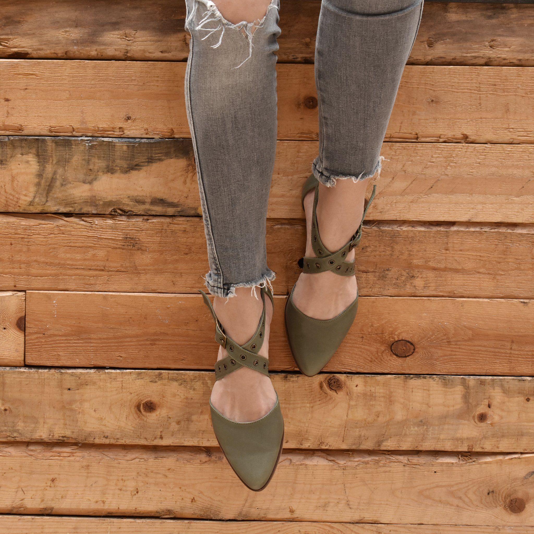 Olive green buckle closure flat sandals