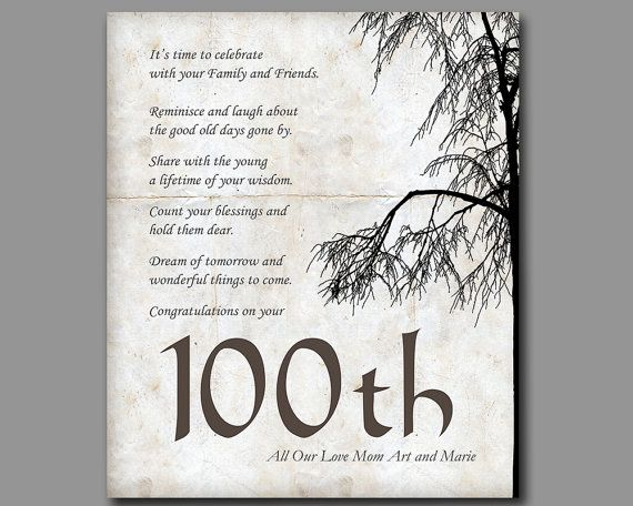100th Birthday 100 Years Old Birthday Gift Gift From