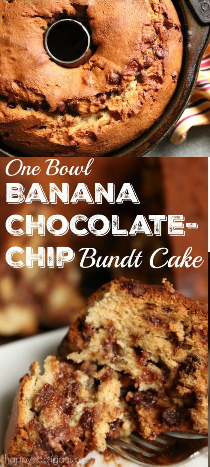 Photo of 1-Bowl Banana Chocolate-Chip Bundt Cake – Happy Hooligans