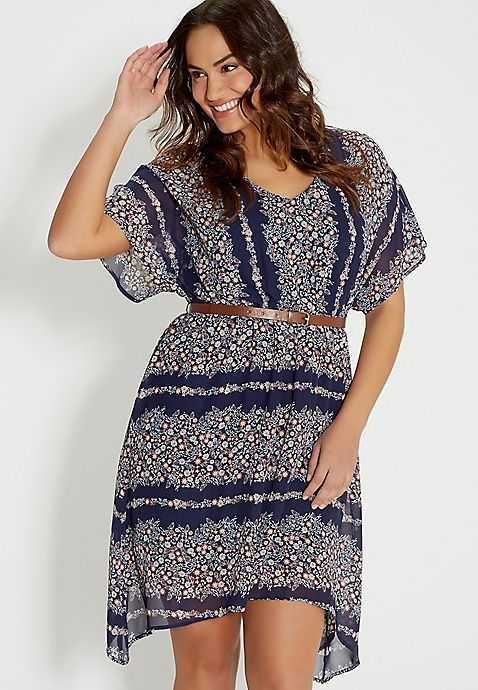 plus size floral print dress with belt | maurices | Wants ...