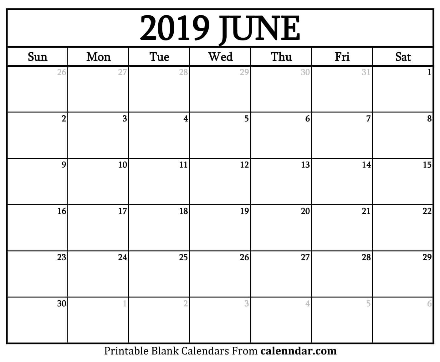June 2019 Calendar Printable | Blank June 2019 Calendar Printable