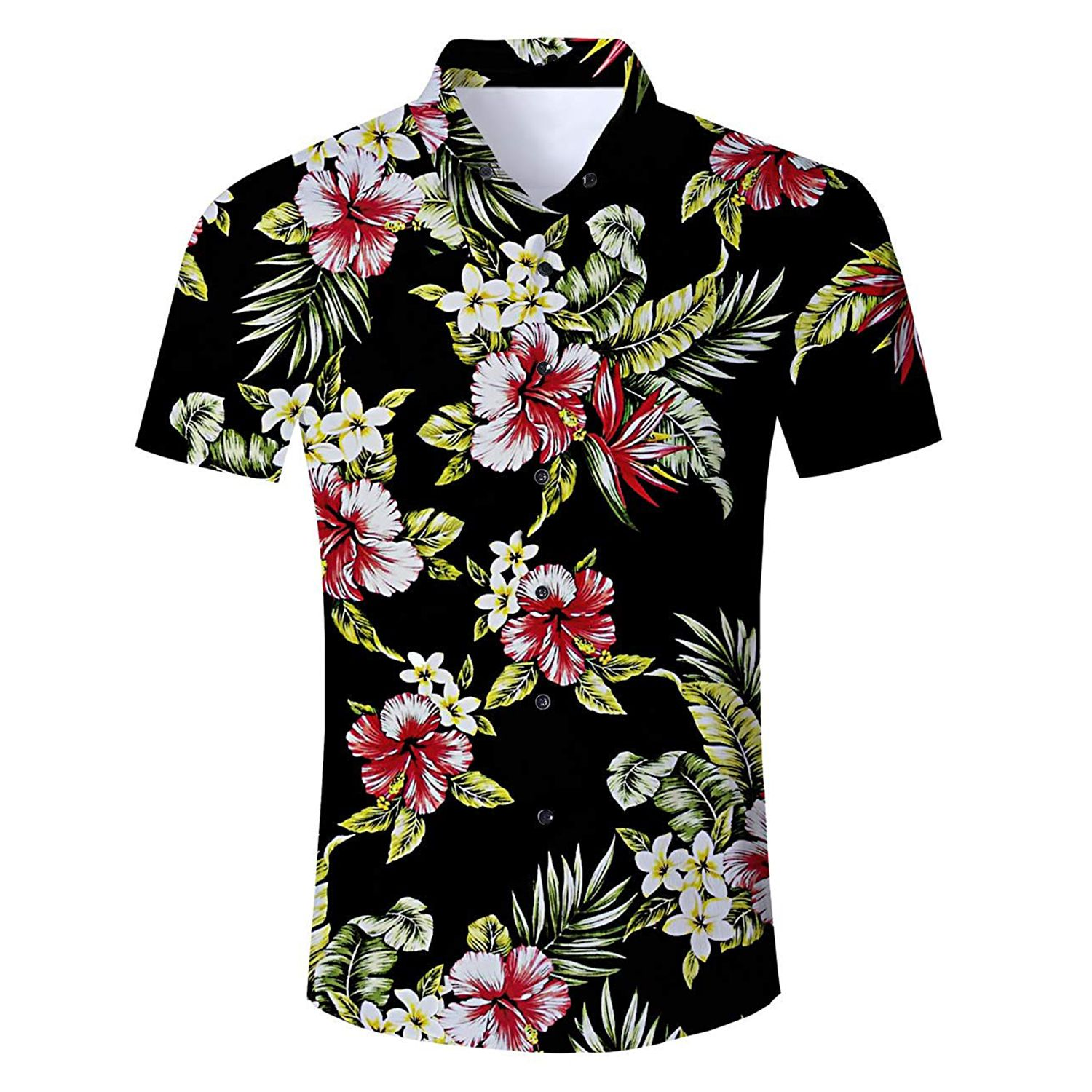 01b6cd06 Uideazone Men Hawaiian Shirts Summer 3D Printed Short Sleeve Button Down  Aloha Shirt