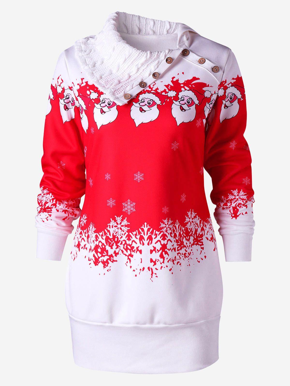70ed124eac4 Jurken Womens Ladies Christmas Fleece Long Santa Reindeer Sweatshirt Tunic  Mini Dress