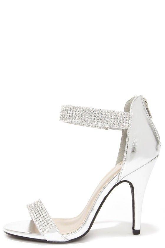 Ankle strap heels, Heels, Rhinestone shoes