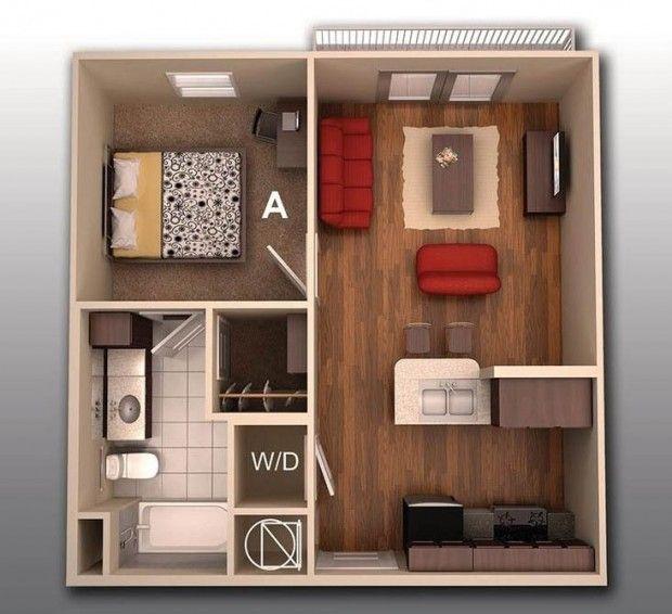 แปลนบ้านชั้นเดียวหนึ่งห้องนอน แปลนแบบบ้านสวย Pinterest