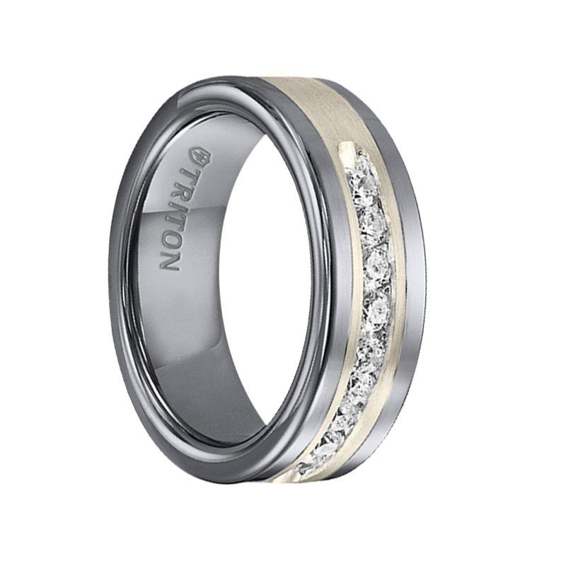Triton Rings Reginald Flat Tungsten Carbide Wedding Band With Satin Finished Silver Inl Tungsten Carbide Wedding Bands Cool Wedding Rings Channel Set Diamond
