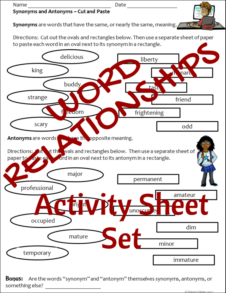 This Set Of Activity Sheets Helps Kids Use Word Relationships To