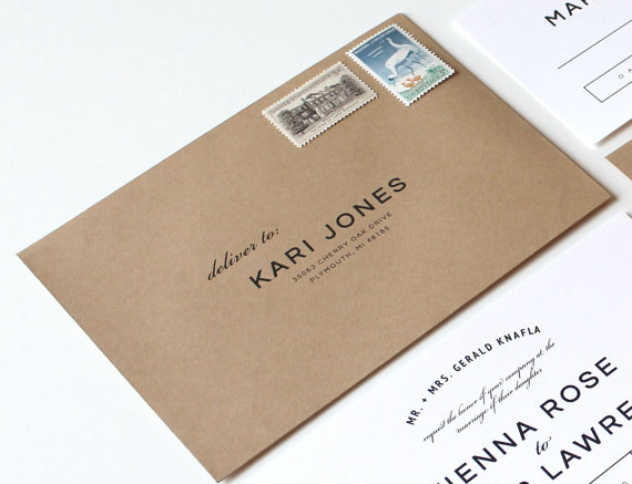 Wedding Envelope Addressing Simple Font Printing By Tiedandtwo