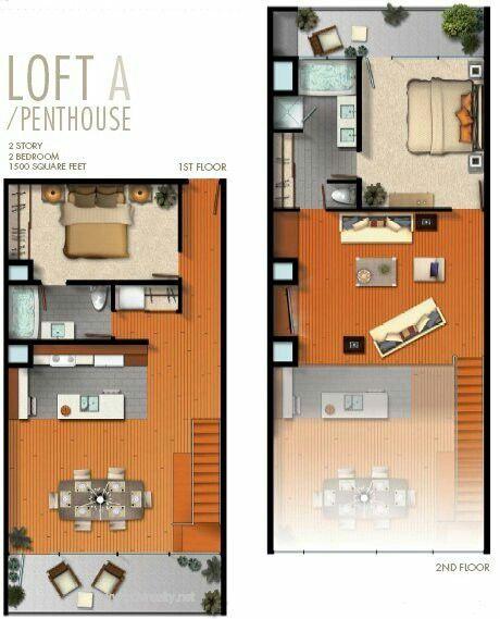 Loft moderno com 2 quartos | small houses | Pinterest | Planos ...