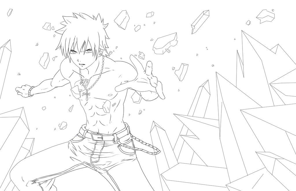 Gray From Fairy Tail Lineart By Jadeedge Fairy Tail Gray Fairy Tail Coloring Pages