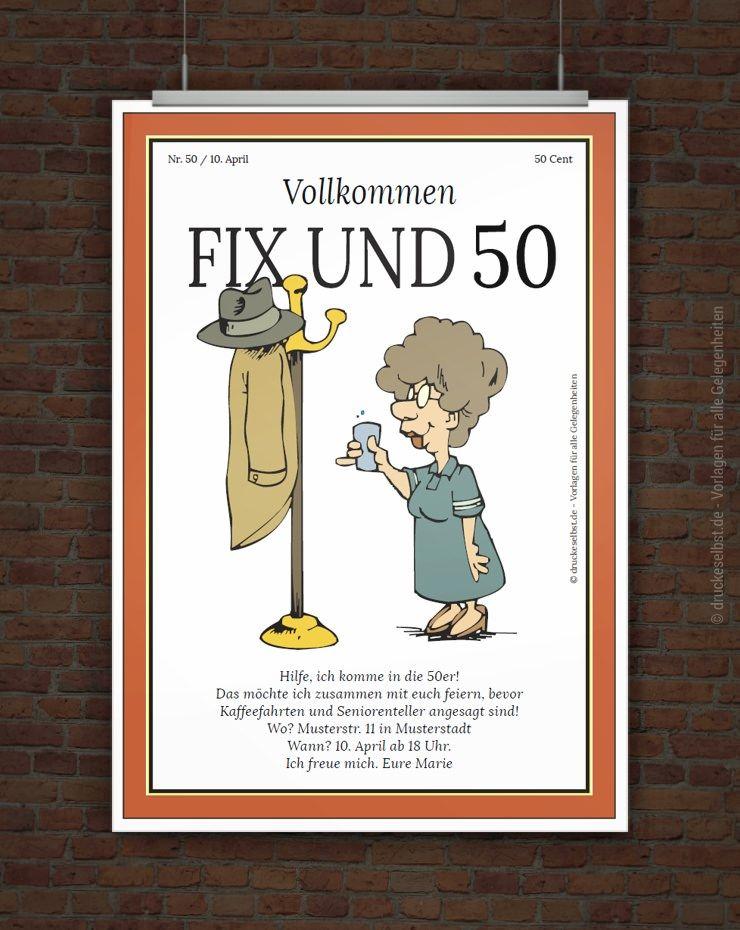 lustige einladung zum 50 geburtstag free printables pinterest lustige einladungen. Black Bedroom Furniture Sets. Home Design Ideas