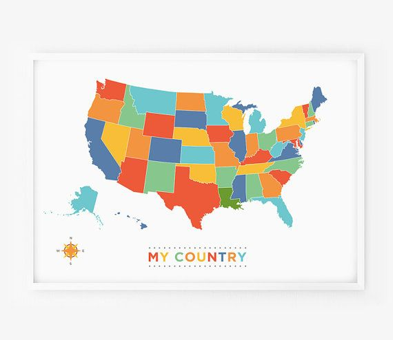 USA Map Art Any Country Map Poster My Country Wall Art For - Map of the us for kids