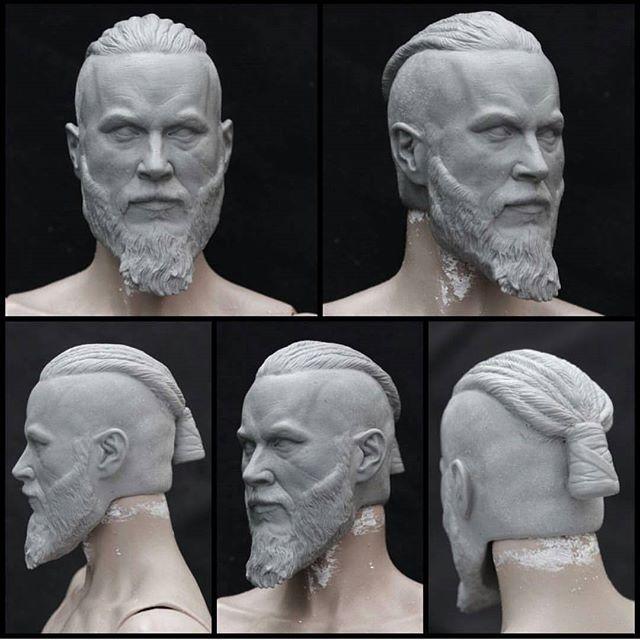 Custom 1/6 scale Ragnar Lothbrok (Vikings) head sculpt from @caine_productions. -- #caineproductions #viking #vikings #ragnarlodbrok #ragnarlothbrok #warrior #sculpt #sculpture #custom #onesixthscale #axe