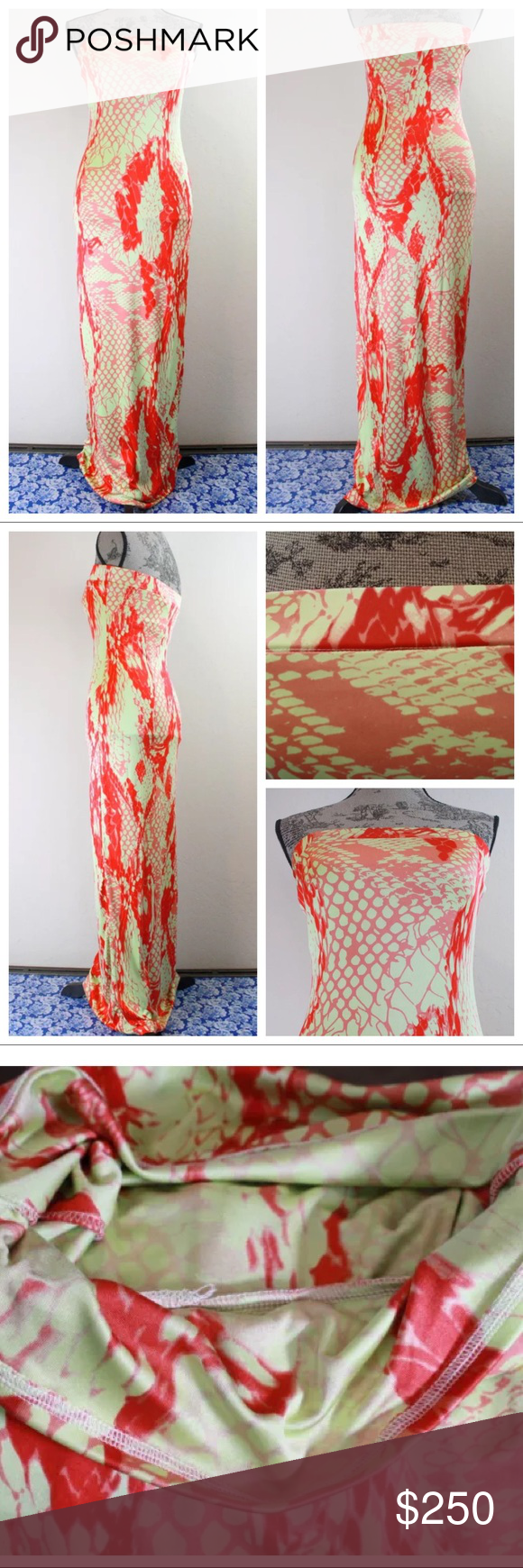 a9fcfd24e5c HALE BOB Snakeskin Stretch Silk Maxi Tube Dress Printed Stretch Silk  Strapless Maxi Dress • Snakeskin Print • Strapless • Built-in Bandeau Bra •  Pull Over ...