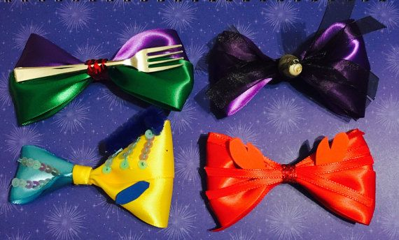 Handmade Hair Bows Ursula Little Mermaid Flounder Disney Princess