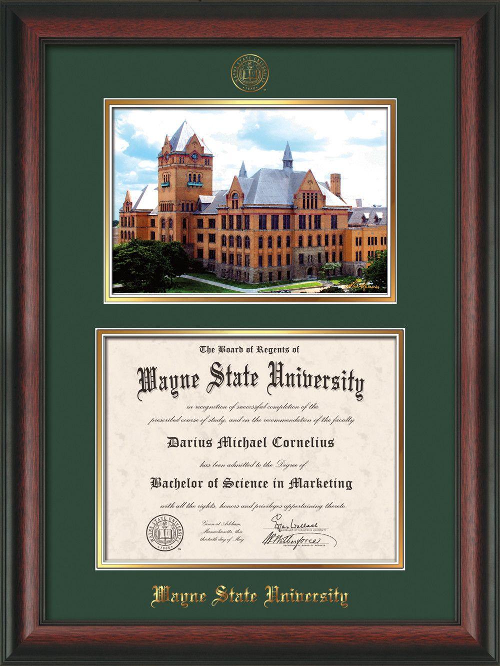 Wayne State University Diploma Frame Rosewood W Embossed Wsu Seal Name Watercolor Green On Go Wayne State University Diploma Frame University Diploma